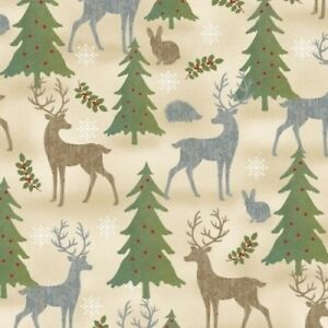 Country Christmas Fabric - Holiday Meadow Reindeer Pine ...