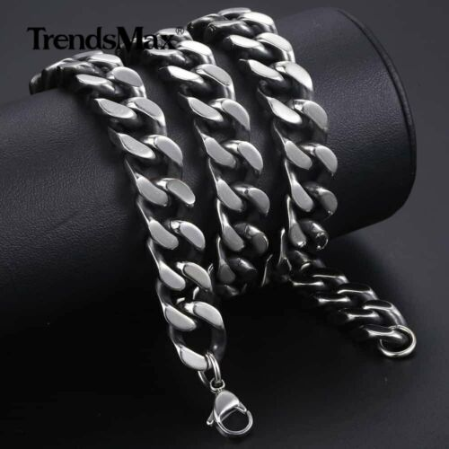 12 Mm Homme Collier en acier inoxydable Black Cut Curb Cuban Link 18-36 in