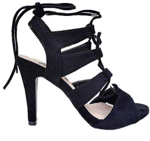 Sandales talon haut aiguille femme chaussure bout ouverte compensée lacet FA129