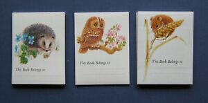 Vintage-1980s-self-adhesive-bookplates-51-animals-bird-hedgehog-owl-mouse