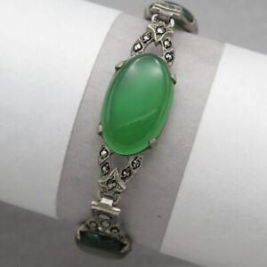 Vtg-1930-s-Art-Deco-Sterling-Silver-Natural-Chrysoprase-Marcasite-Bracelet