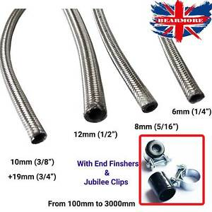 Image is loading Braided-Stainless-Steel-Fuel-Hose-Line-&-CLIPS-  sc 1 st  eBay & Braided Stainless Steel Fuel Hose Line u0026 CLIPS FINISHERS Pipe Metal ...