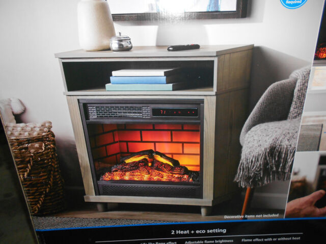 Mainstays Gray 26 Freestanding Wood Mantel 3d Electric Fireplace Heater Remote For Sale Online Ebay