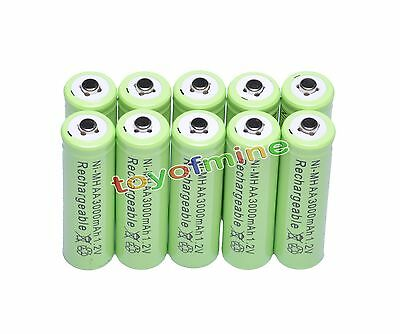 10x AA 3000mAh Ni-MH rechargeable battery cell /RC Green