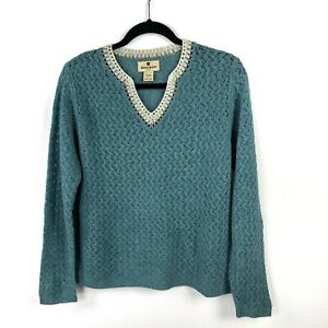 Woolrich-Sweater-Lambs-Wool-Slate-Blue-Aquifer-Heather-Open-Knit-V-Neck-Sz-Large