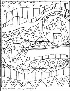 RUG-HOOKING-CRAFT-PAPER-PATTERN-Houses-Abstract-PRIMITIVE-FOLK-ART-Karla-Gerard