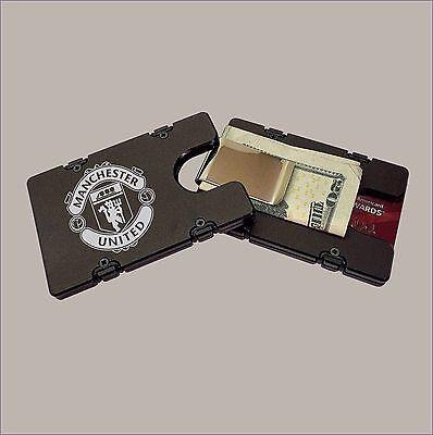 MANCHESTER UNITED FC Black BILLET Aluminum Credit Card Holder//Wallet RFID