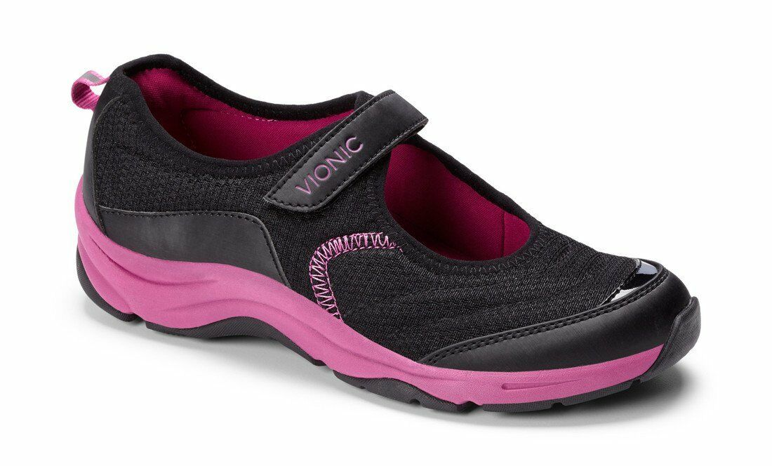 NWOB Vionic Action Coucher Orthaheel Chaussure Basket Noir Rose Femmes Taille 6
