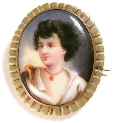 C1890 Victorian Hand Painted Miniature Portrait French Cameo Young Lady Brooch