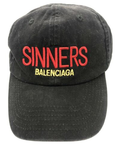 BALENCIAGA 'Sinners' Unisex  Black Red Ball Cap Da