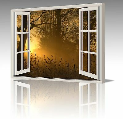 "30x20"" BROWN GOLDEN SUN SUNRISE TREES WINDOW VIEW  CANVAS WALL ART PICTURE PRINT"