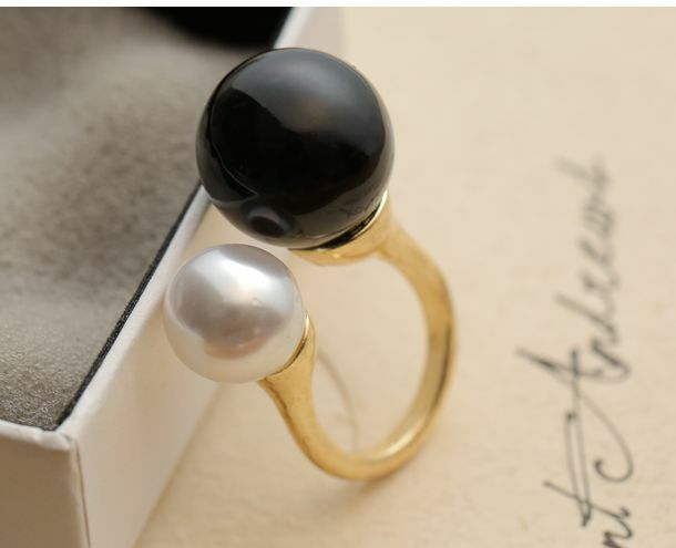 1pcs Chic Fashion Double Pearl White Black Opening Adjustable Ring Gift New