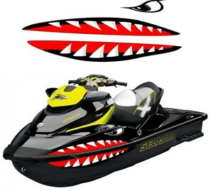 Polaris Jet Ski >> Details About Sea Doo Yamaha Kawasaki Honda Polaris Jet Ski Pwc Teeth Mouth Shark Decal 2 3 4