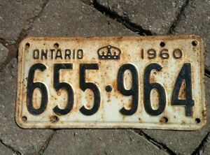 Vintage 1960 Ontario ON Canada Vehicle License Plate White Black ~ POOR 655 964
