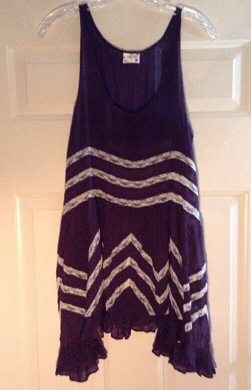 Intimately Free People Trapeze Slip Dress Sz S S S Lace Voile Purple Dot Boho N16 ac719d