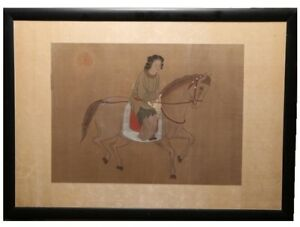ANTIQUE-ASIAN-CHINESE-EQUESTRIAN-PORTRAIT-OF-WOMAN-ON-HORSEBACK-WATERCOLOR-SILK