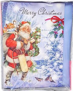 Merry-Christmas-Santa-Holiday-Glitter-Cards-16ct-New