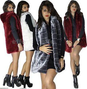 finest selection 63e39 738cd Dettagli su Gilet donna Smanicato eco pelliccia con cappuccio sexy lungo  nuovo