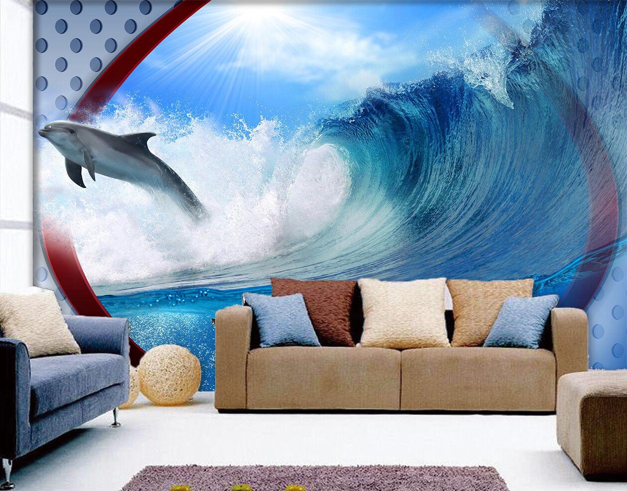 3D saut Dauphin 034 Photo Papier Peint en Autocollant Murale Plafond Chambre Art