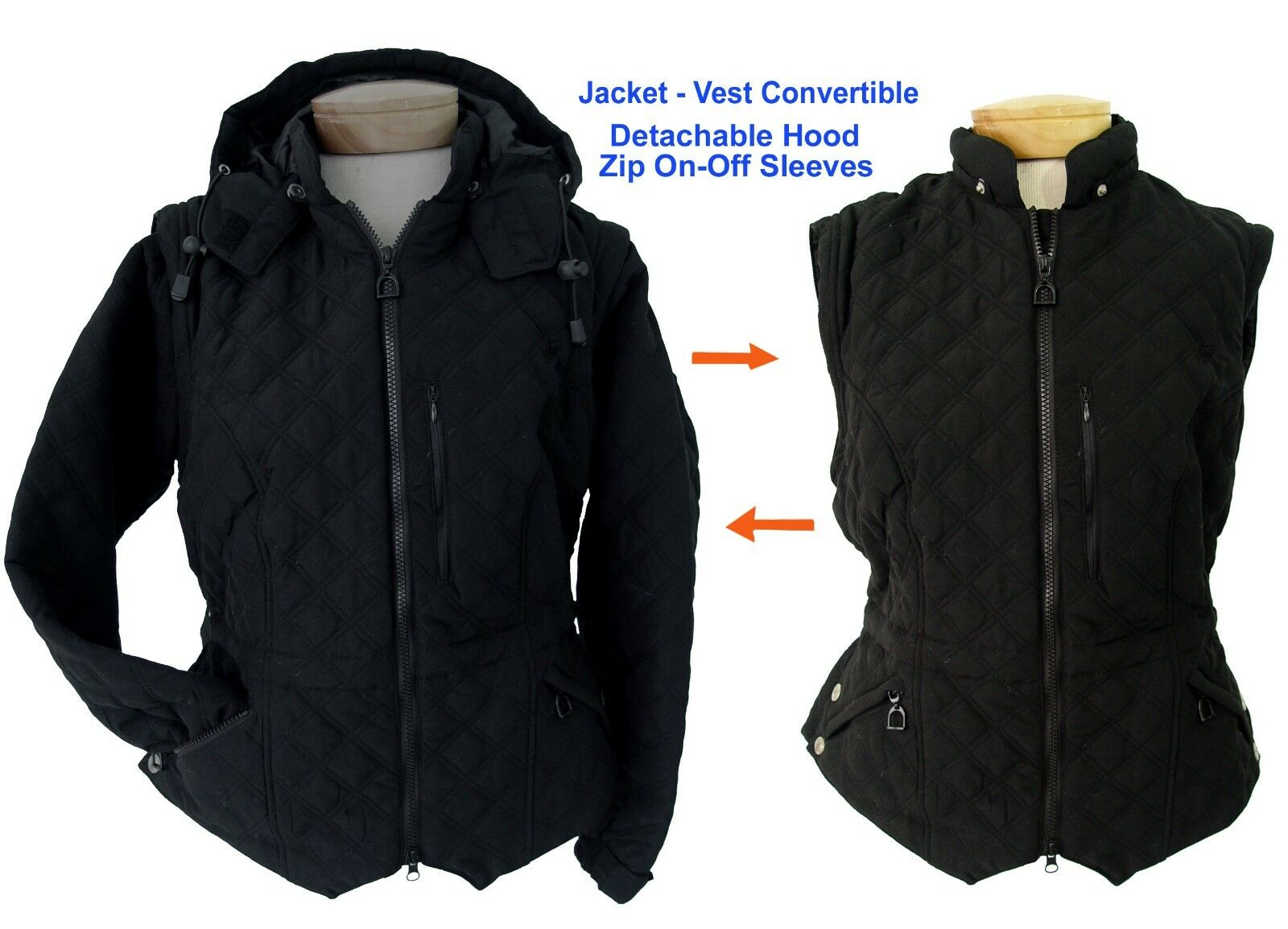 equitazione Jacket with Removable Sleeves & Hood. Turns into vest