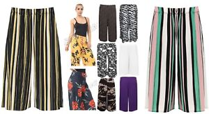 Ladies-Womens-plain-printed-Wide-Leg-Culottes-3-4-Palazzo-trouser-Shorts-8-30
