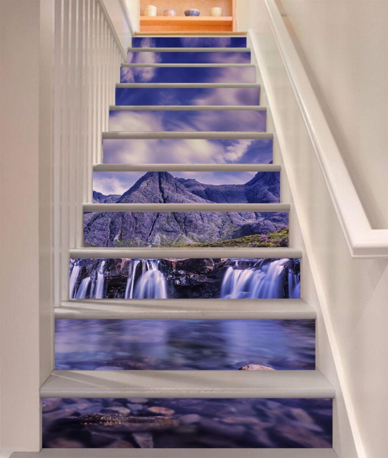 3D Sky mountain 3 Stair Risers Decoration Photo Mural Vinyl Decal Wallpaper UK