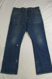 Levi-517-Boot-Cut-Faded-Stained-Denim-Jeans-Tag-36x30-Measure-36x31