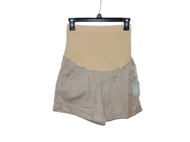 20f60b85716c5 a Glow Maternity Shorts Size 8 Belly Panel Cuffed Hems Twill Paper ...