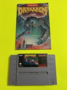 WORKING-SUPER-NINTENDO-SNES-GAME-CARTRIDGE-amp-INSTRUCTION-BOOKLET-DRAKKHEN