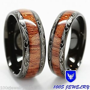 Men Amp Women S Tungsten Carbide Wedding Band Wood Inlay