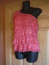 Boston Proper S/M one shoulder crochet salsa top, rose color, NWT