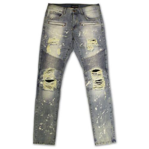 Embellish Maverick Splatter Biker Denim Jeans Stone Wash Bleach Blue