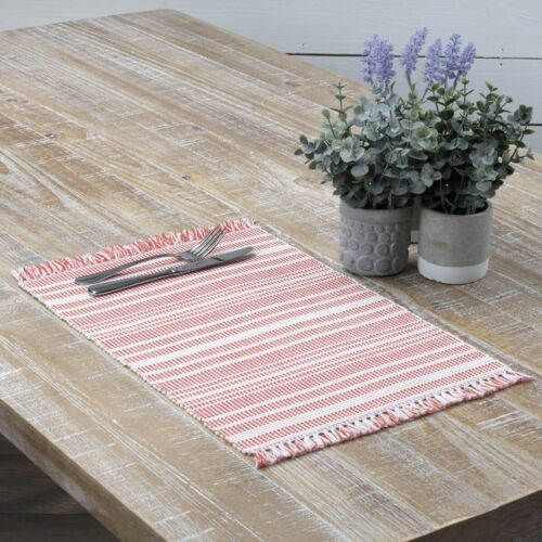 VHC Farmhouse Placemat Set of 6 Dining Table Mats Square White Red Striped