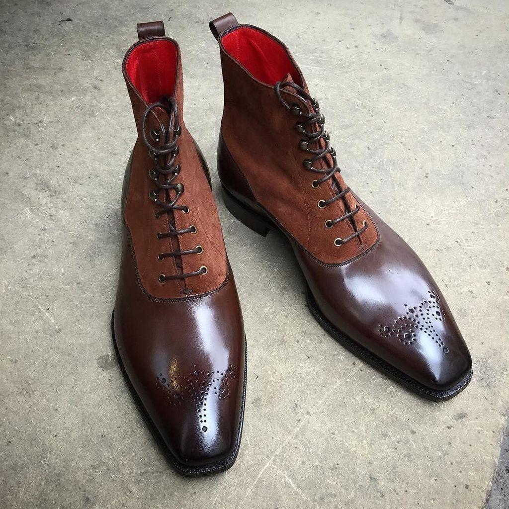 Da Uomo fatto a mano Chelsea Stivali Marrone scarpe in Pelle Lacci Up scarpe Marrone fatte su misura ad2c75