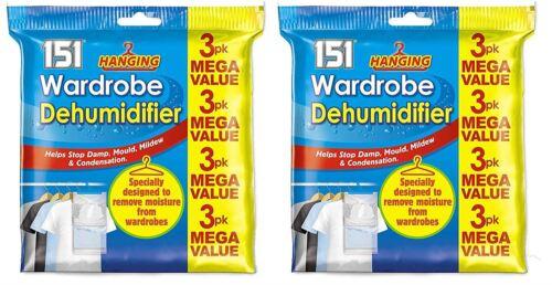 Lot de 6 suspendus armoire Déshumidificateur Stop moisissure /& Humidité Absorbeur d/'humidité