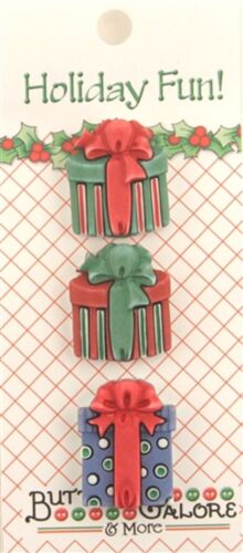 ** NEW  TRADITIONAL PRESENTS  HOLIDAY FUN BUTTONS  BY BUTTONS GALORE 3 BUTTONS