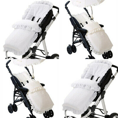 Gorgeous Pushchair Frilly Broderie Anglaise Footmuff//Liner with Ribbon Bows White with Pink Bows