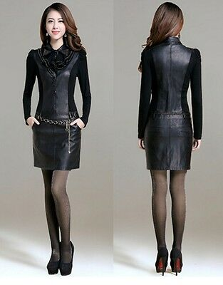 Women's Autumn Fashion Black Long Sleeve Leather OL Solid Slim Under Mini Dress