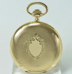 Taschenuhr-Savonette-pocketwatch-14-Kt-585-Gold-Handaufzug-um-1910