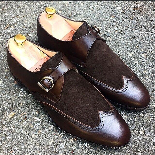 Handmade Men Monk shoes, Men brown formal shoes, Men wing tip dress shoes