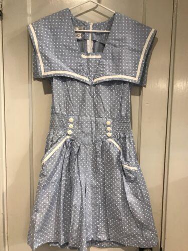 Vtg Dress Plain Jane Sweet Baby Jane Blue Polka Do