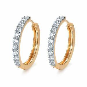 18k-yellow-white-gold-2-tone-huggies-made-with-Swarovski-crystal-earrings-hoop