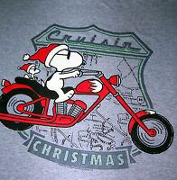 Snoopy & Woodstock On Motorcycle cruisin Christmas Grey Tshirt