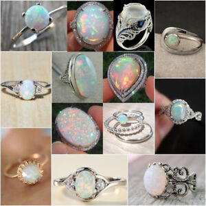 925-Silver-Ring-White-Fire-Opal-Moon-Stone-Wedding-Engagement-Women-Jewelry-Gift