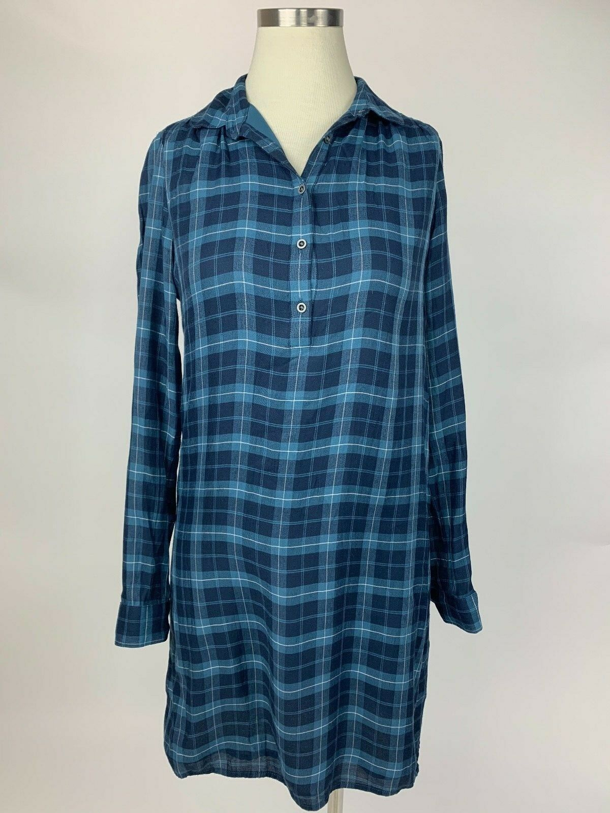 e9431f257f35 Ann Taylor Loft Navy bluee Light bluee Plaid Henley Shirt Dress XS Nice