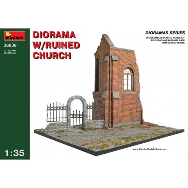Miniart 36030 Diorama W/Ruined Church Plastic Figure Model Kit Building 1/35