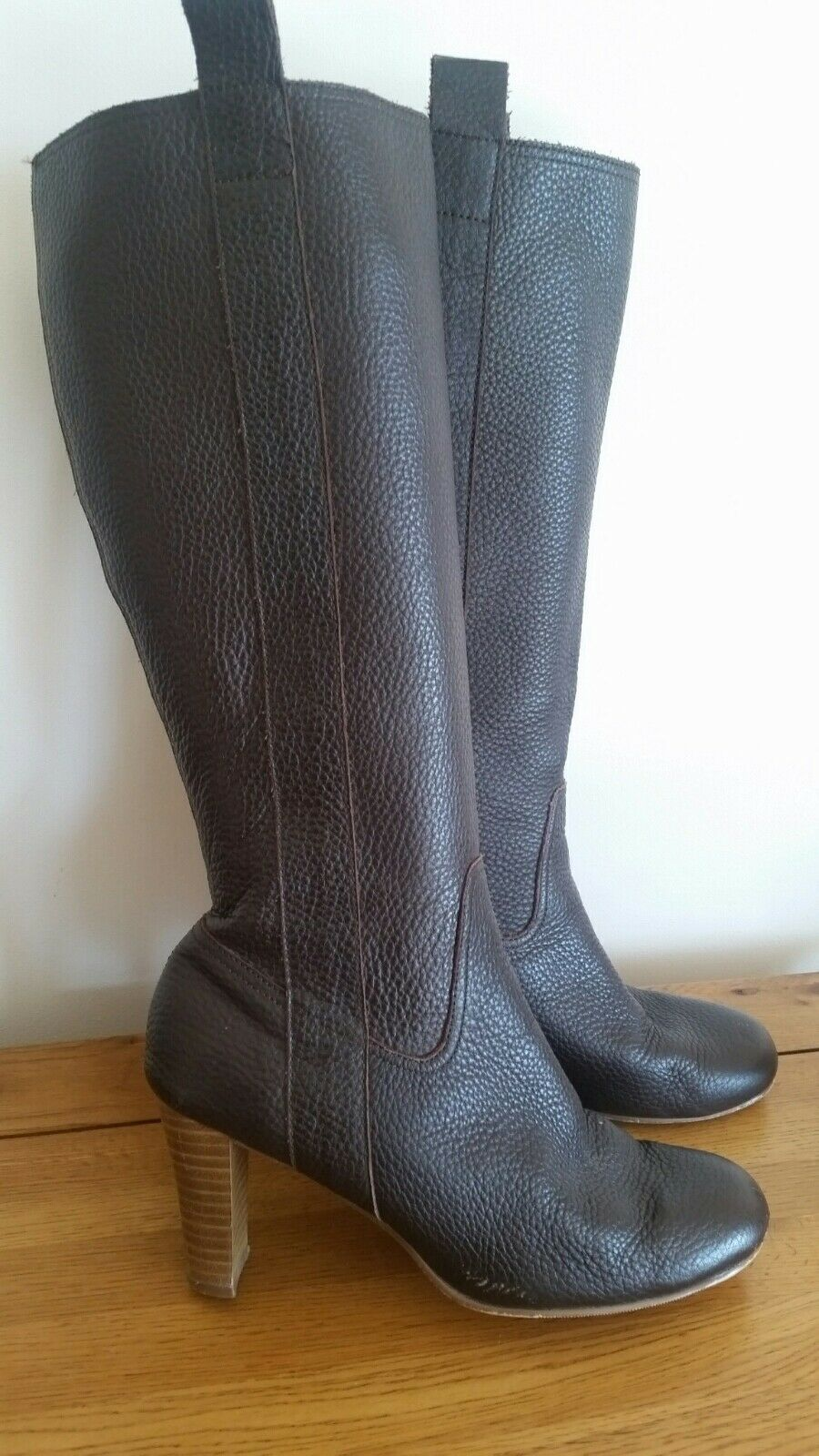 M&S brown leather knee high boots UK 6.5 Marks & Spencer 40