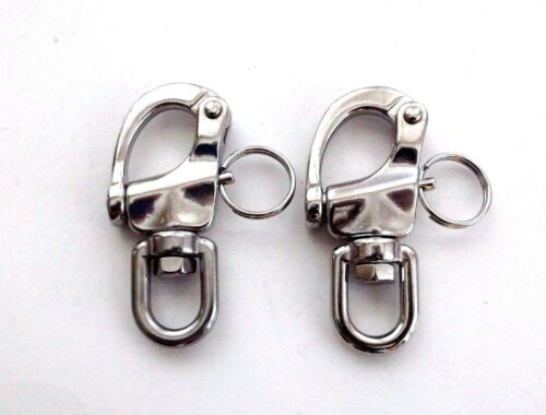 """2 BBT Marine Grade 316 Stainless Steel 2-3//4/"""" Snap Shackles with Swivel Bail"""