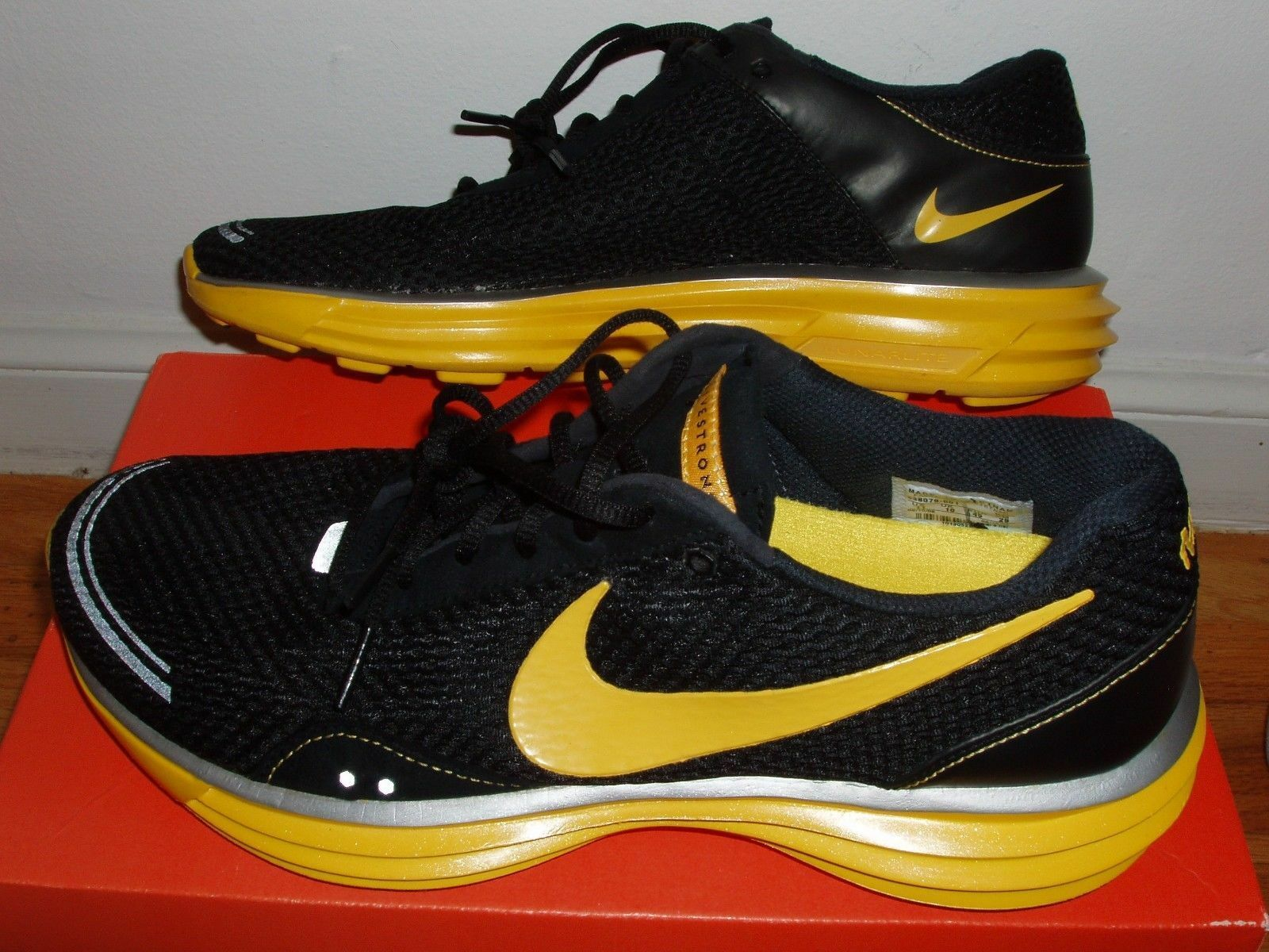 NEW Nike LunarTrainer men 11 lunar trainer running shoes shoes shoes black yellow livestrong 4a912a