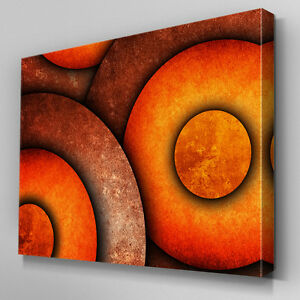 Image Is Loading AB917 Modern Orange Circle Design Canvas Wall Art